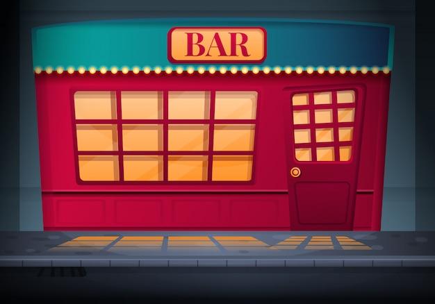 通り、イラストの夜に立っている赤いバーの外観