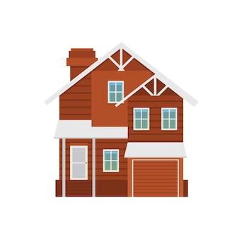 Внешний вид двухэтажного коттеджа с гаражом. загородный жилой дом