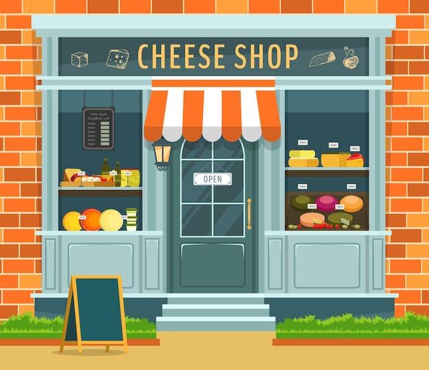 치즈 샵 카운터 또는 쇼케이스의 외관