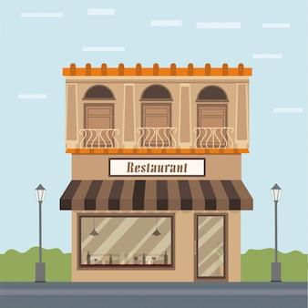 Exterior view of a restaurant, urban city background.