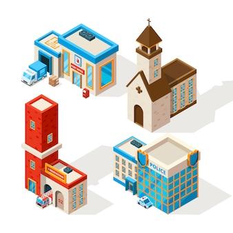 Exteriors of municipal buildings.  3d pictures