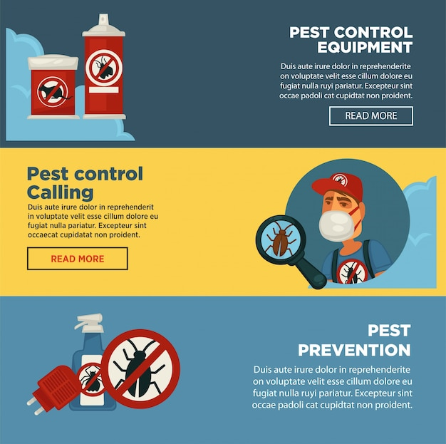 Extermination pest control service banners template  of sanitary domestic exterminate disinfection equipment.