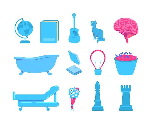 脳活動の外部刺激フラットカラーオブジェクトセット。さまざまな感覚の源。 webグラフィックデザインとアニメーションパックのタッチ、視覚、音刺激分離漫画イラスト