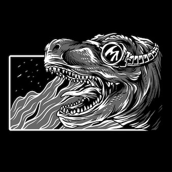 Extinct era black & white illustration