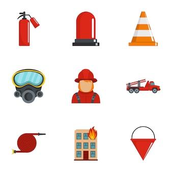 Extinguish fire icons set, cartoon style