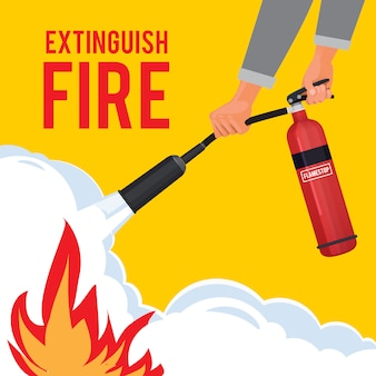 Extinguisher in hands. firefighter with fire red extinguisher extinguish big flame  attention placard