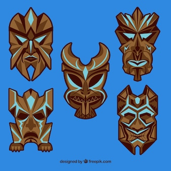 Extoic tribal masks with ethnic style