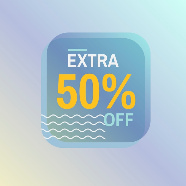 Extra 50% off sale badge vector