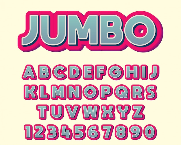 Extra bold colorful typography design font