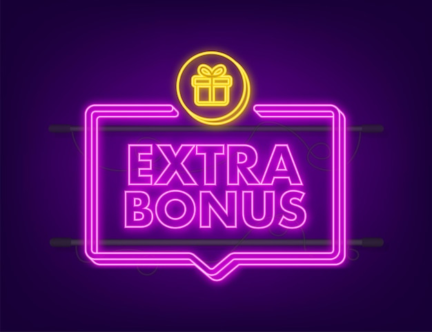 Extra bonus for promotion design. neon icon. discount banner promotion template. web template for marketing promo design. vector stock illustration.