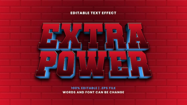 Extra power editable text effect in modern 3d style