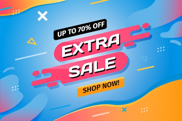 Extra sale and shop now retro background