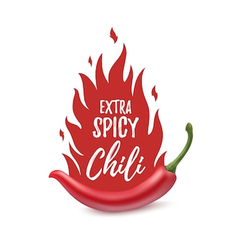Extra spicy chili paper poster, badge or banner template with fire,  on white background.  illustration.