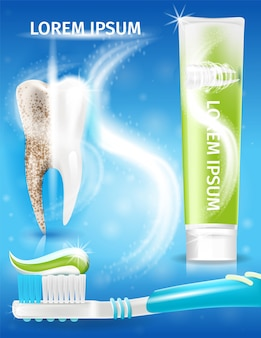 Extra whitening toothpaste realistic vector promo