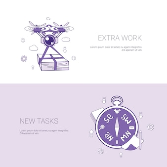 Extra work and new tasks concept template web banner