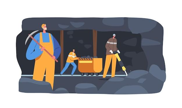 Персонажи рабочих добывающей промышленности в униформе и шлемах на угольном карьере, загружающие окаменелости на шахтную тележку. шахтерская работа