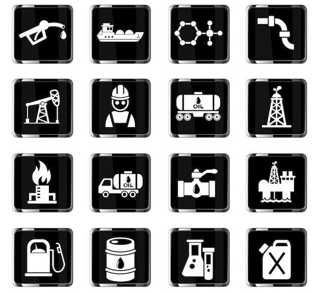 Добыча нефти значок набор веб-иконки для дизайна пользовательского интерфейса Premium векторы