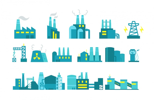 Extraction petroleum. set of factory illustration oil production. Premium Vector
