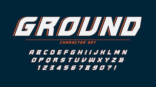 Extrame алфавит дизайн, шрифт, буквы и цифры.