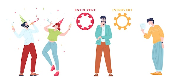Extraversion and introversion people comparison in communication