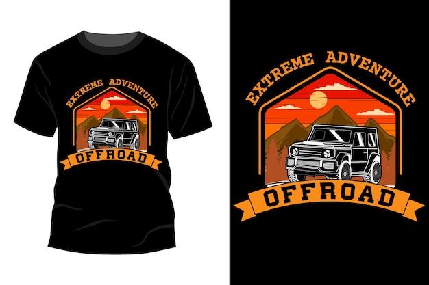 Экстремальные приключения внедорожной футболки, дизайн макета винтажного ретро