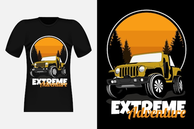 Extreme adventure with jeep silhouette vintage t-shirt design
