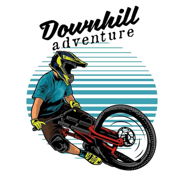 自転車に乗った男の極端な下り坂ジャンプイラスト