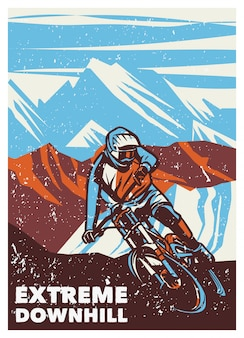 Extreme downhill vintage retro poster illustration