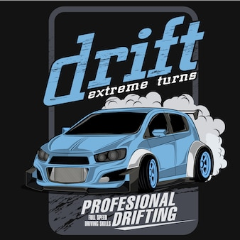 Extreme drift championship, vector car illustrations