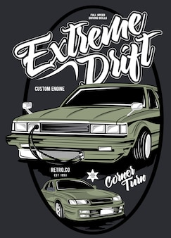 Extreme drift,  illustration of classic race car