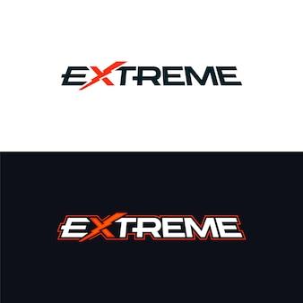 Экстремальный логотип. логотип со словом крайность. шаблон