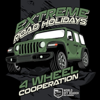 Extreme offroad holidays, vector car illustrations