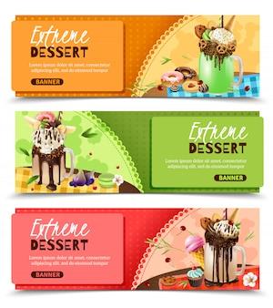 Extreme rich dessert horizontal banners set