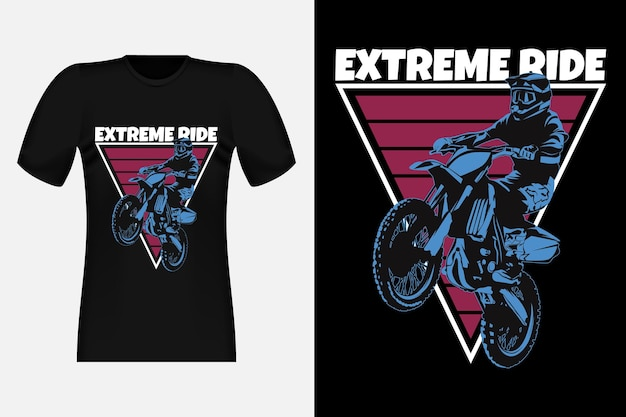 Motocross 실루엣 빈티지 티셔츠 디자인으로 익스트림 라이드