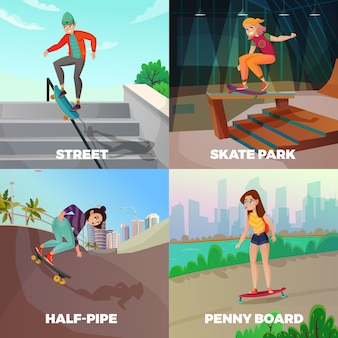 Extreme skateboarding illustration