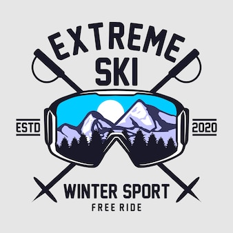 Extreme ski graphic illustration