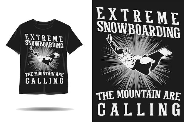 極端なスノーボード山の呼び出しシルエットtシャツのデザイン