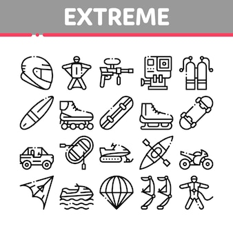 Extreme sport activity collection icons set