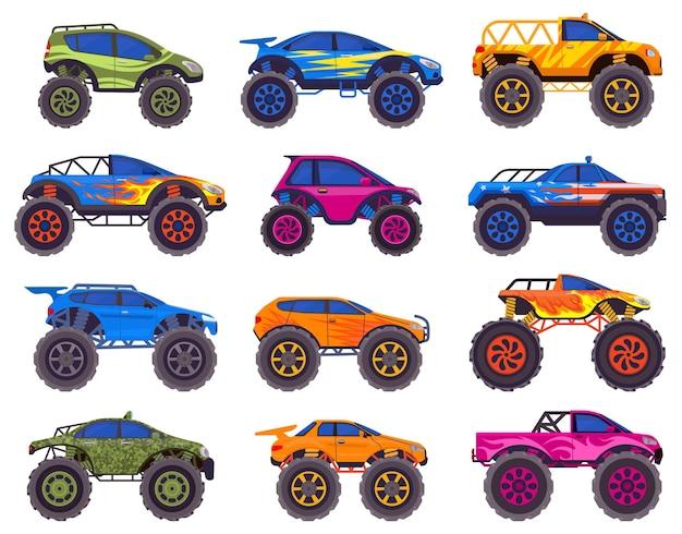 大型タイヤを装着したエクストリームスポーツの大型モンスタートラック。モンスタートラック輸送、極端なショーのピックアップ、ジープ大型車のベクトルイラストセット。極端なモンスター輸送レース