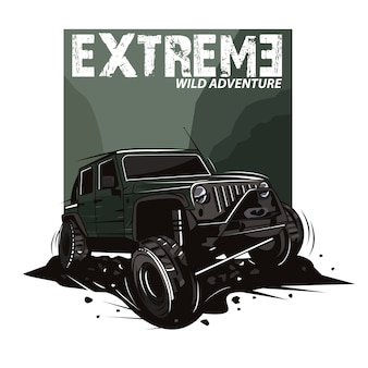 Extreme sport illustration with jeep car on mountains