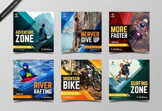 Extreme sport instagram post collection template