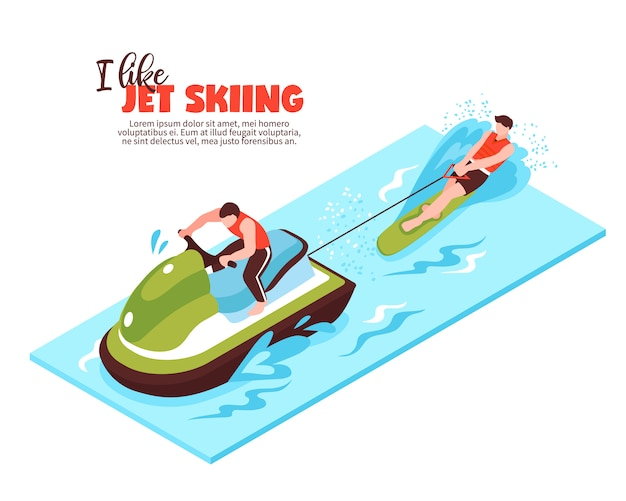 Extreme sport isometric  with towing boat and sportsman engaged in water skiing