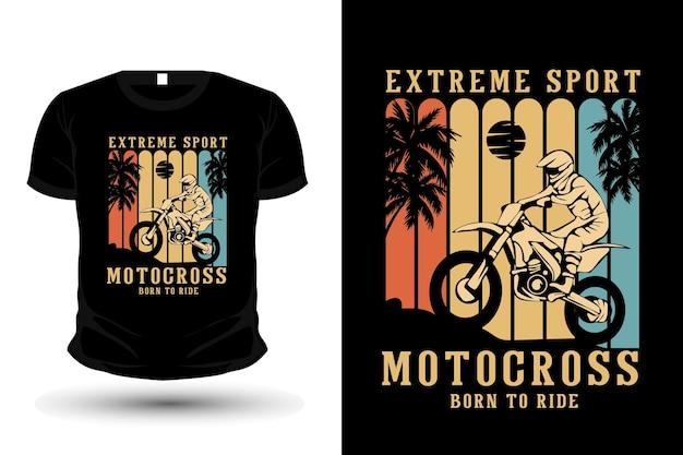 Extreme sport motocross merchandise silhouette t shirt mockup design