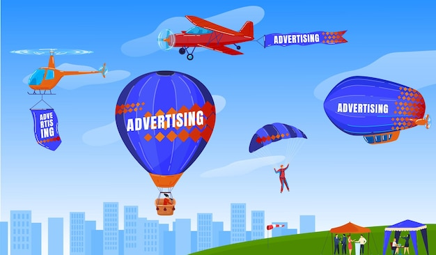Extreme sport, skydiving, paragliding, flight with parachute  illustration.
