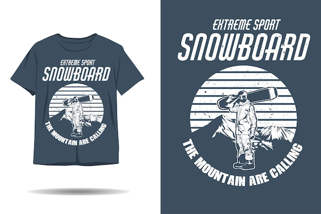 Экстремальный спорт сноуборд силуэт дизайн футболки