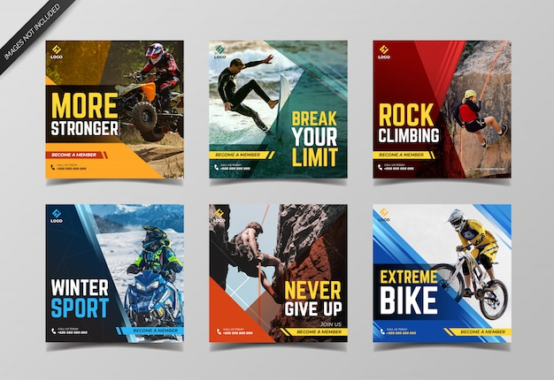 Extreme sport social media post collection template