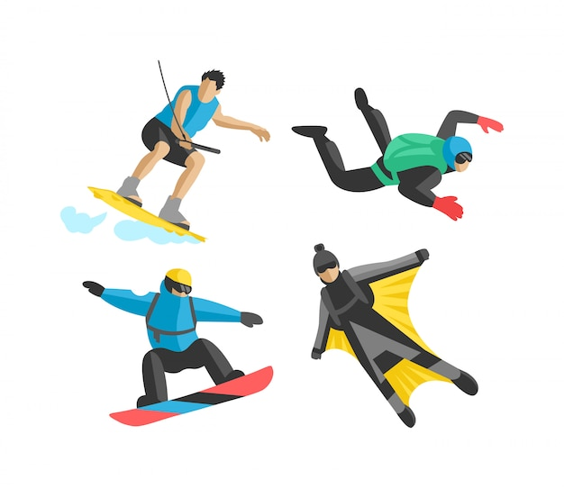 Extreme sport vector people silhouette