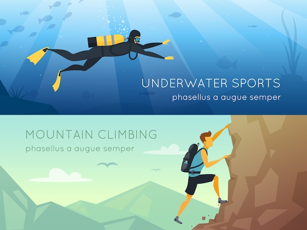 Extreme sports 2 flat horizontal banners banners