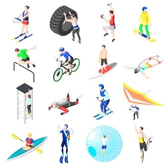Collezione di atleti di sport estremi