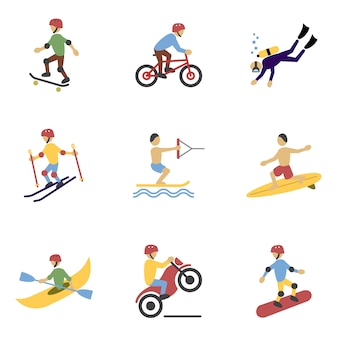 Extreme sports characters set